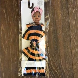 Baby Bling black and orange striped classic knot